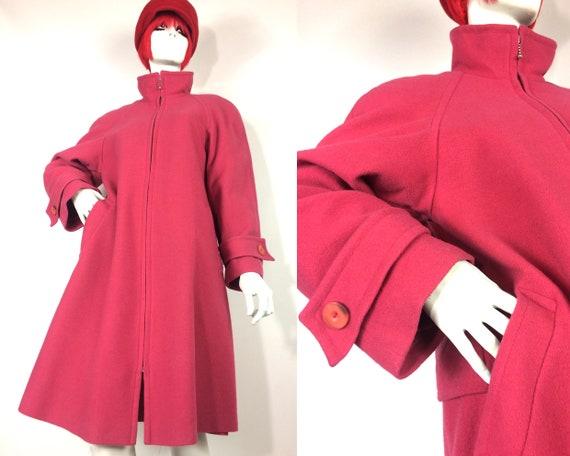 1990s vintage retro Bubblegum pink wool swing coat