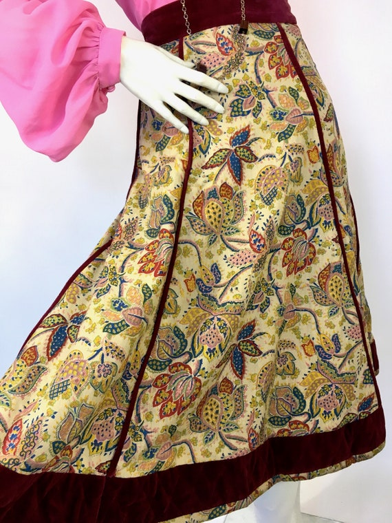 Vintage 1970s Annabelinda cotton and velvet skirt… - image 3