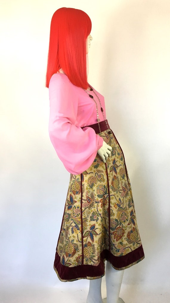 Vintage 1970s Annabelinda cotton and velvet skirt… - image 5