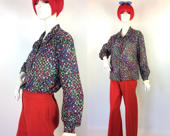1970s vintage Art Deco smock blouse / 40s shirt /