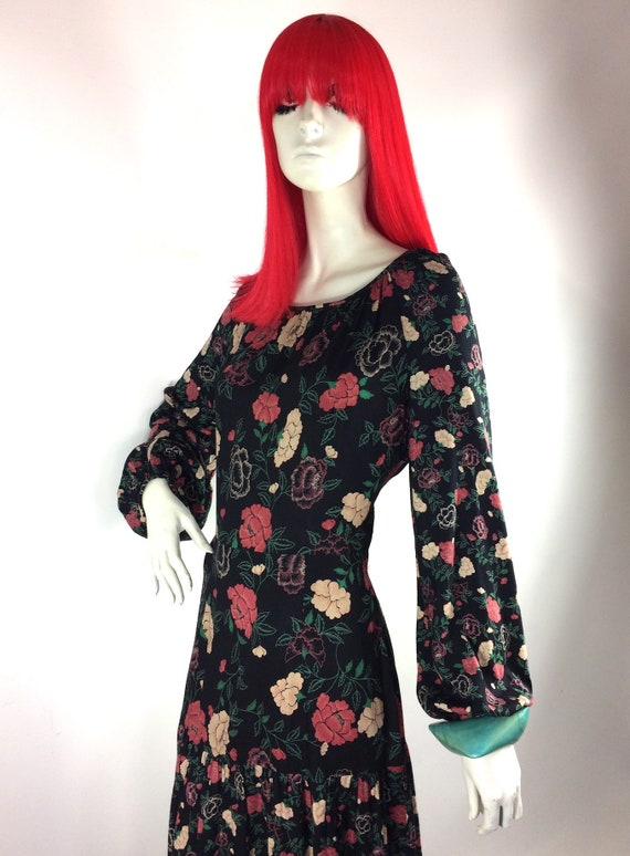 1970s vintage rose print gown by Rembrandt / maxi… - image 3