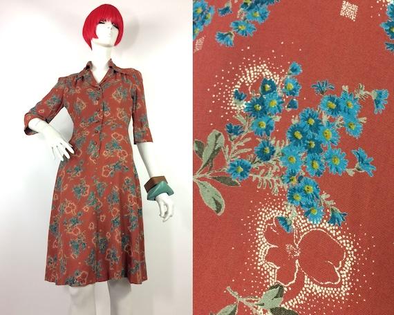 1970s does 40s vintage floral cotton shirt dress /