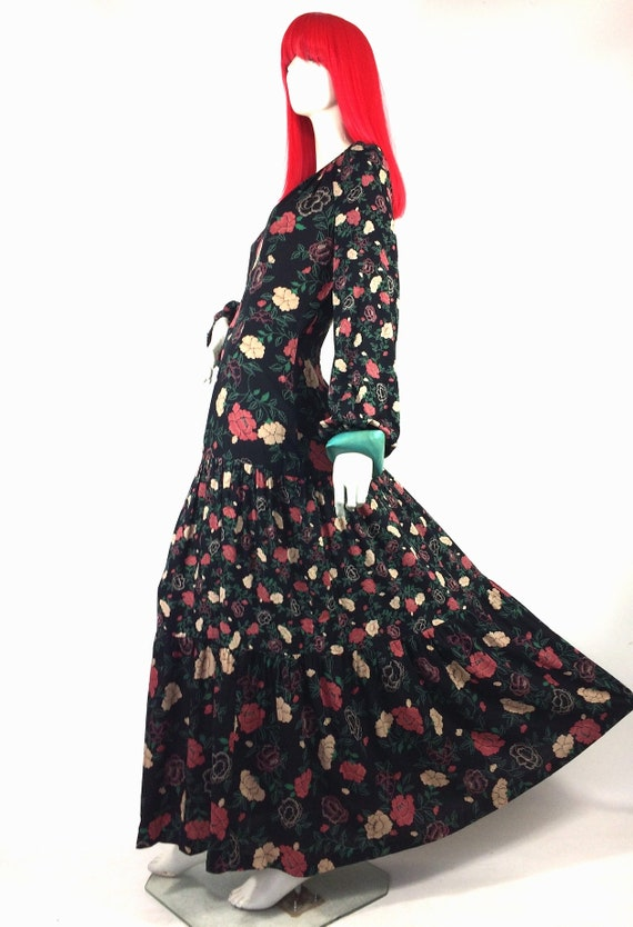 1970s vintage rose print gown by Rembrandt / maxi… - image 2