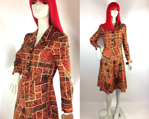 1970s psych Mod shirt dress / Secretary / Hippie /