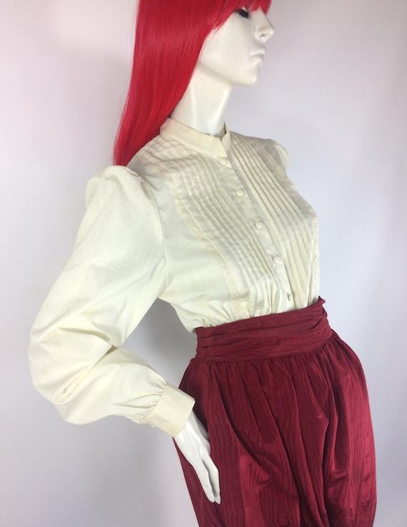 1970s vintage cream cotton prairie blouse / brode… - image 2