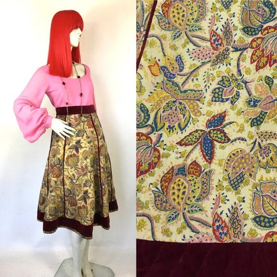 Vintage 1970s Annabelinda cotton and velvet skirt