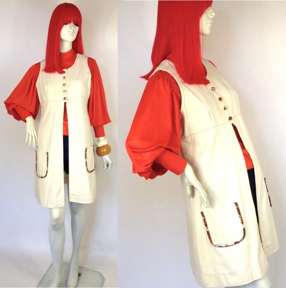 Vintage 1960s denim dress / waistcoat / 70s Rock /