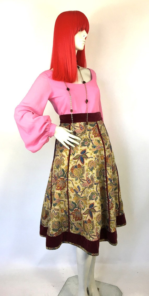 Vintage 1970s Annabelinda cotton and velvet skirt… - image 7