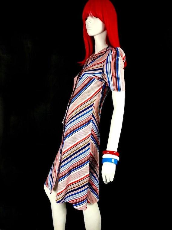 Vintage 1970s chevron stripe midi cotton shirt dr… - image 3