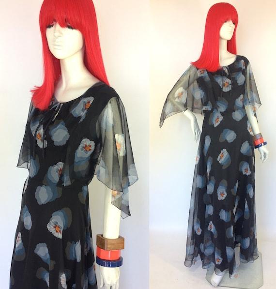 1970s Vintage floaty sheer maxi dress/ Stevie Nick