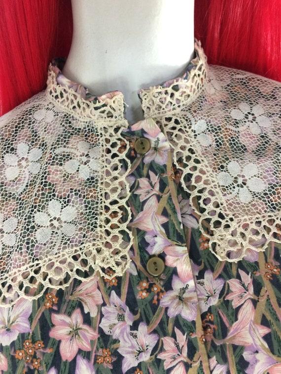 1970s Liberty lace bib Edwardian prairie blouse /… - image 6