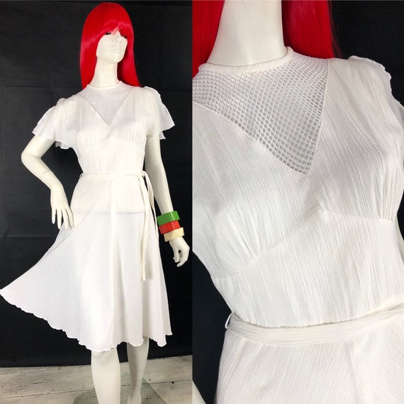 1970s vintage white cheesecloth midi dress / Ruffl