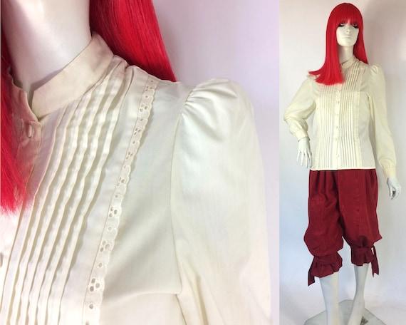1970s vintage cream cotton prairie blouse / broder
