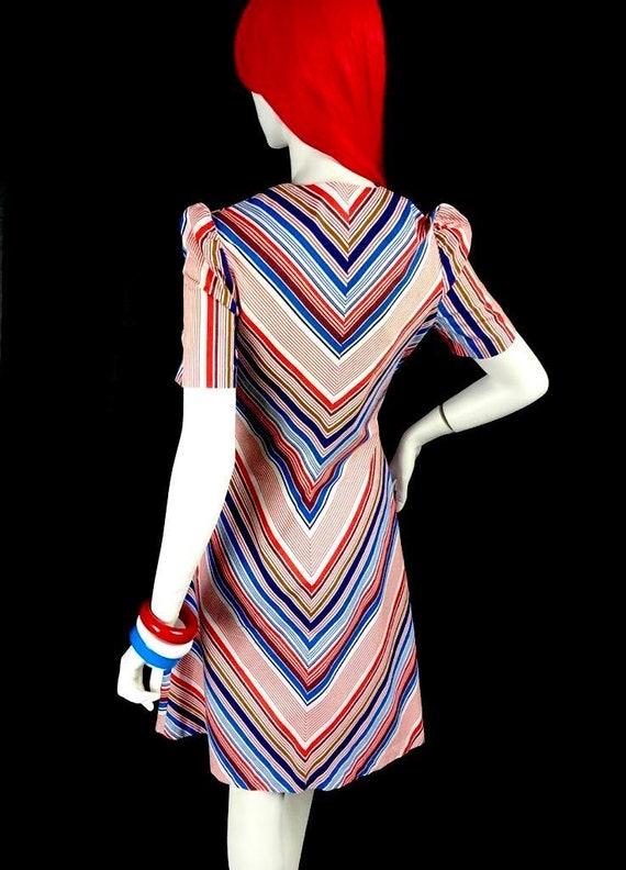 Vintage 1970s chevron stripe midi cotton shirt dr… - image 10