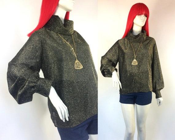 Vintage 1960s gold lurex blouse / shirt / 70s glam