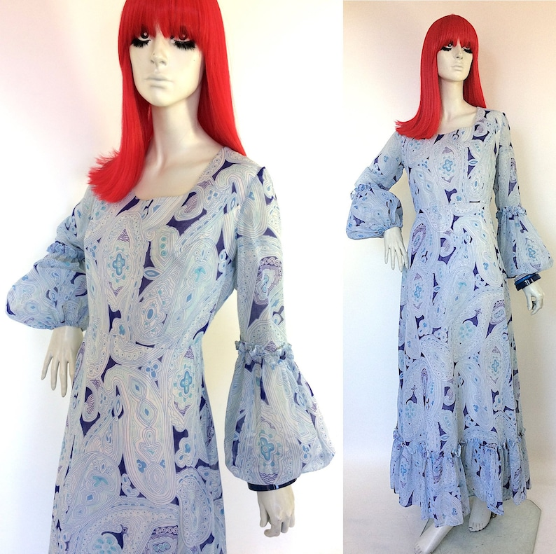 8fa9d83ab5d Vintage 1970s Art nouveau gown   maxi dress   wedding