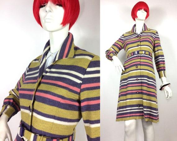 1960s vintage Mod bubblegum striped wool trench co