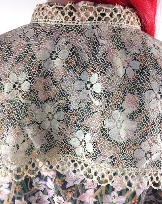 1970s Liberty lace bib Edwardian prairie blouse /… - image 7