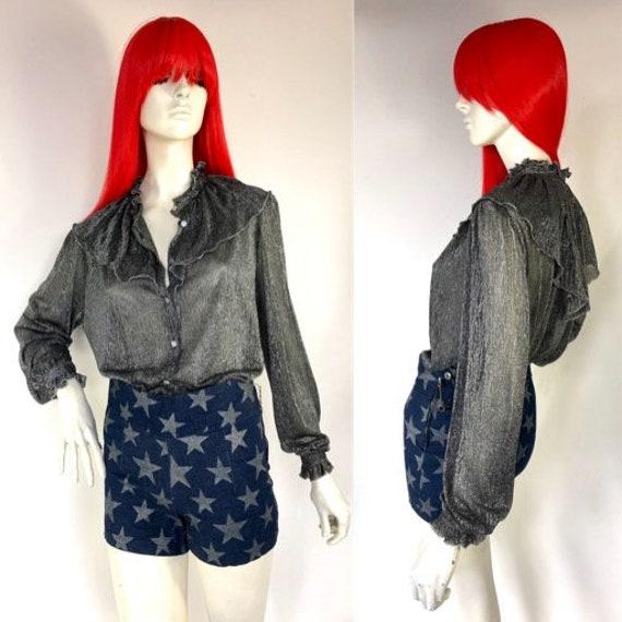 1970s Lurex silver Ruffle blouse // Disco //  Glam