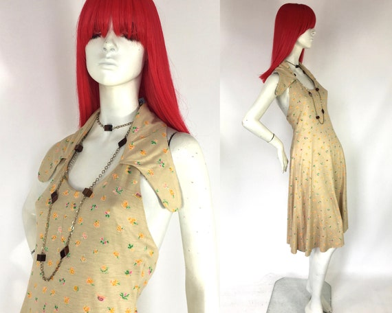 Vintage 1970s Bus Stop Lee Bender midi halter neck