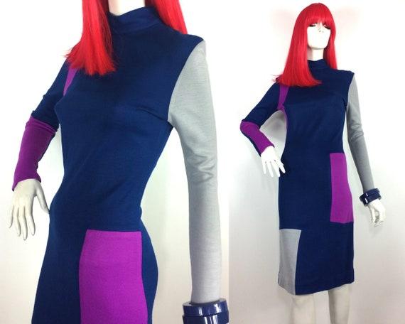 1980s vintage colourblock jersey Mod dress / Peggy