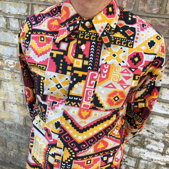 Vintage 60s 70s Psychedelic Patchwork Print Cotton