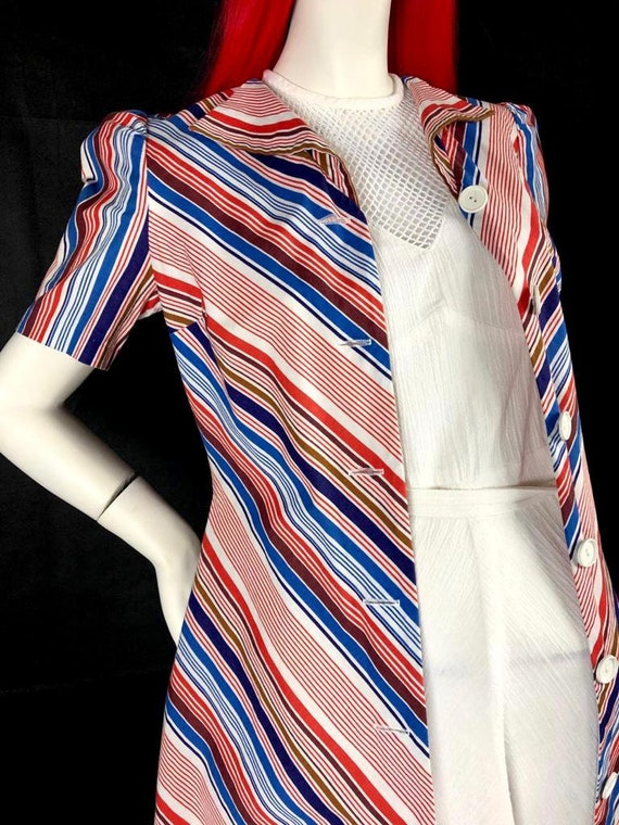 Vintage 1970s chevron stripe midi cotton shirt dr… - image 6
