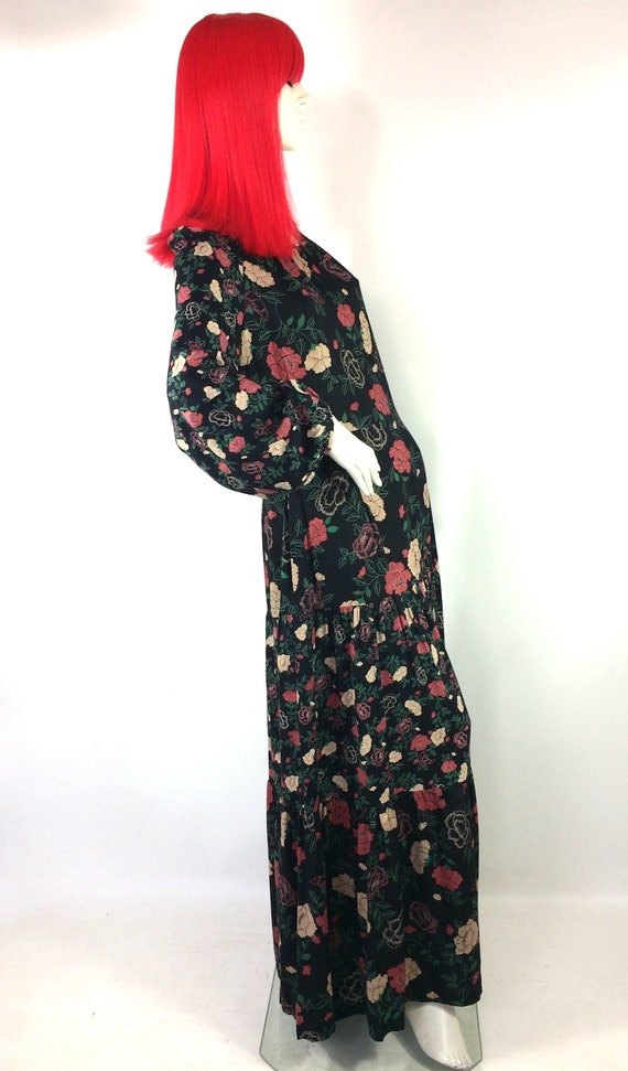 1970s vintage rose print gown by Rembrandt / maxi… - image 5