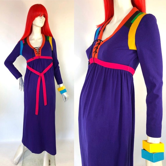 1970s Stephen Burrows Color Block Wool Jersey Maxi