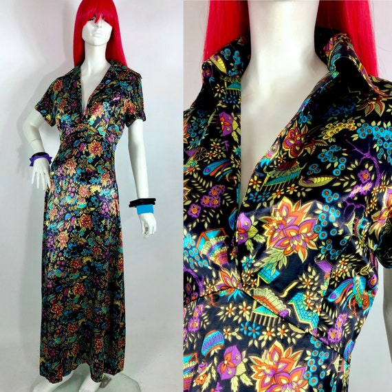 1960s Chinese print satin maxi dress / Psychedelic
