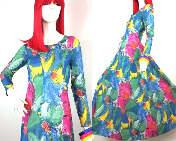 1960s vintage psych flower maxi dress / Abstract p