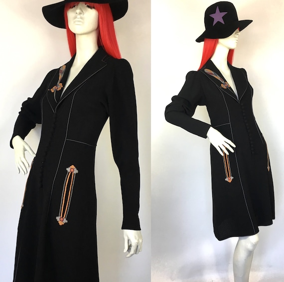 Vintage 1970s Janice Wainwright crepe dress with a