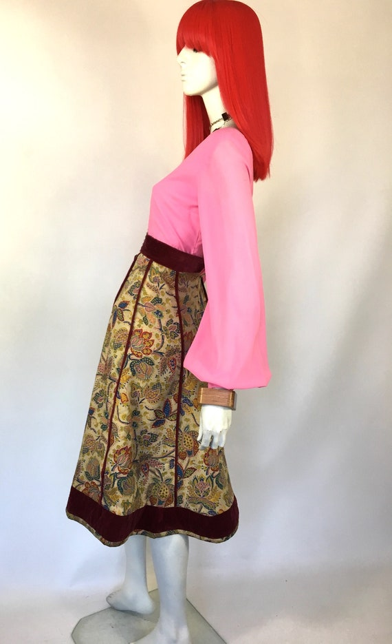 Vintage 1970s Annabelinda cotton and velvet skirt… - image 4