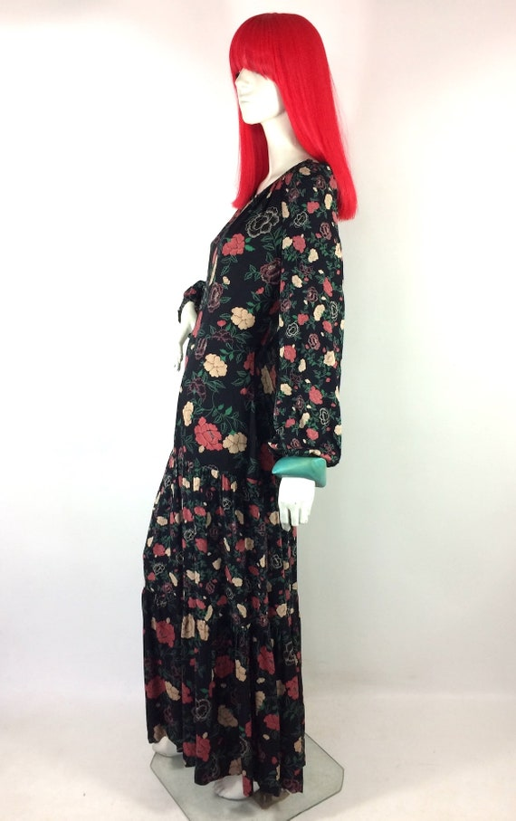 1970s vintage rose print gown by Rembrandt / maxi… - image 4