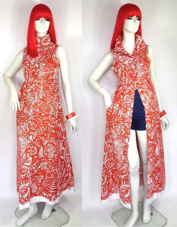 Vintage 1960s abstract  GOLDEN FINN maxi dress / c