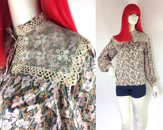 1970s Liberty lace bib Edwardian prairie blouse /