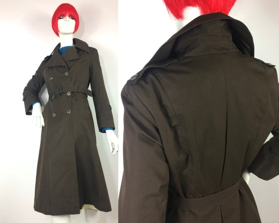 1970s vintage chocolate brown trench coat / spy co