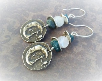 Moonstone Earrings-Moon And Stars-Kyanite Jewelry-Boho Chic-Moon Sisters-Hippie Chic-Mixed Metals-Rustic Pewter-Sterling Silver