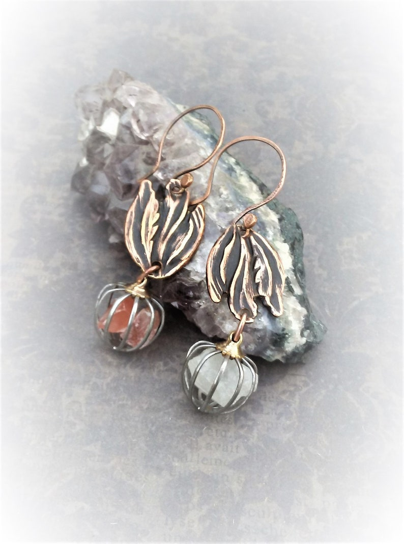 Mismatched Earrings Pair-Fire And Ice Cage Earrings-Copper Crystal Earrings-Boho Style Jewelry-Raw Crystal Chandelier Earrings-Ready To Ship