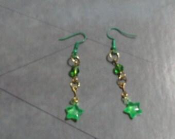 Green Star Dangle Earrings