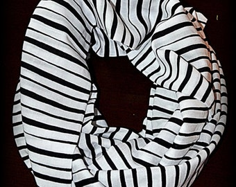 Black and White Striped Infinity Scarf - Striped Scarf - Infinity Scarf - Black and White Scarf