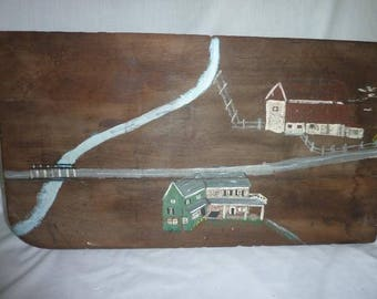 Primitive Folkart Painting on Old Board
