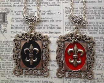 Necklace: Fleur-De-Lis in regal Black and Red