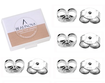 4 Pairs 925 Sterling Silver Earring Friction Security Backs Backings Ear Nuts