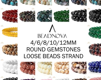 Natural Gemstone Beads Round Smooth Matte Loose Beads Stone Agate Crystal Quartz Jewelry Making Sample Order 4mm 6mm 8mm 10mm 12mm Beadnova