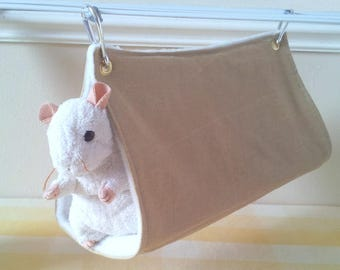 Short Hanging Rat Tunnel Gold and White Rat Cage Toy Triangle Pet Tunnel Rat Hammock Handmade Upcycled Denim and Fleece Rat Cage Accessory