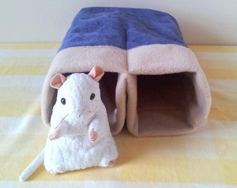 Pet Tunnel Snuggle Sack Rat Cage Toy Ferret Tunnel Rat Bed Handmade Rat Tunnel Hard Wearing Upcycled Denim and Fleece Rat Cage Accessory