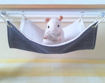 Large Pet Hammock Ferret Hammock Rat Hammock Blue and White Handmade Hard Wearing Rat Cage Toy Upcycled Denim and Fleece Rat Cage Accessory
