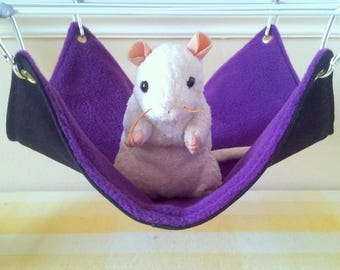Large Pet Hammock Ferret Hammock Purple and Black Handmade Hard Wearing Durable Upcycled Denim and Fleece Rat Cage Accessory