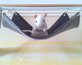 Long Pet Hammock Ferret hammock Grey and Black Guinea Pig Hammock Handmade Rat Toy Upcycled Denim and Fleece Rat Cage Accessory